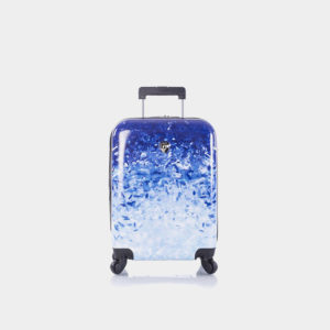 A luggage bag with blue sky pattern.
